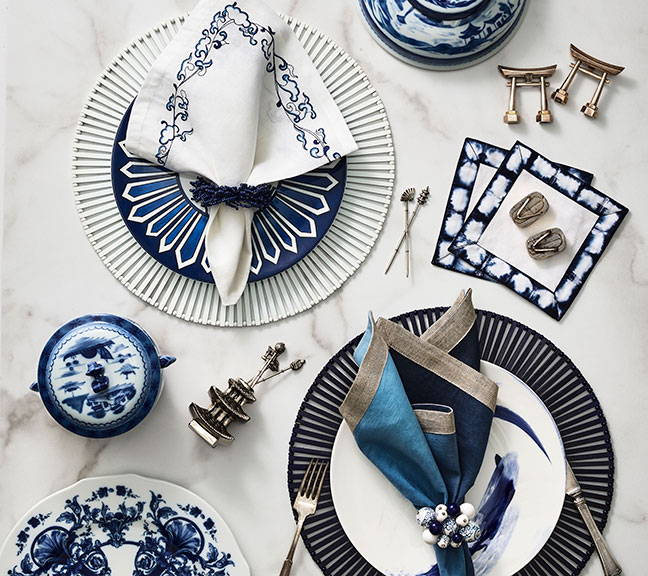 Spoke Blue & White Collection
