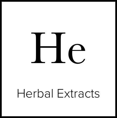 """A square that is meant to look like an element from the Periodic Table of Elements. It says """"He Herbal Extracts."""""""