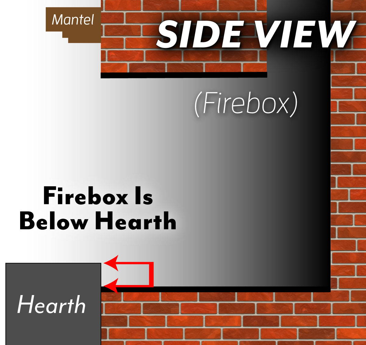 Fire Bed Below Hearth -  Side View