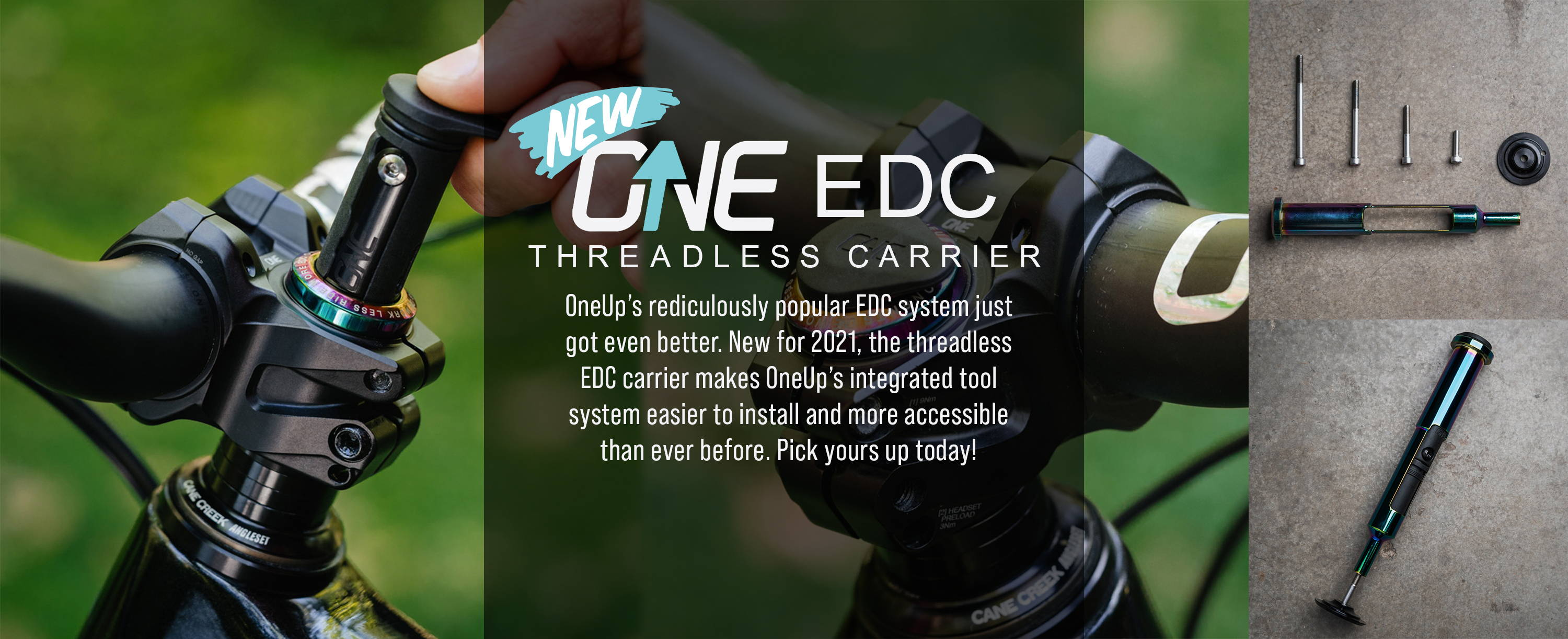 OneUp components EDC Threadless carrier banner