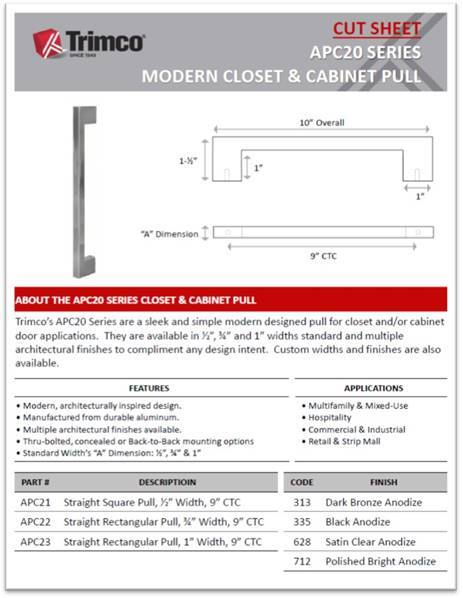 APC20 Series Modern Closet & Cabinet Pull