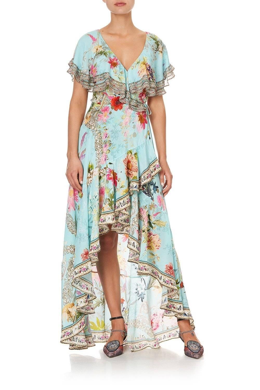 CAMILLA blue frill dress, CAMILLA blue floral maxi dress, CAMILLA blue floral wrap dress