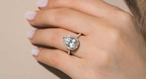 ethical lab grown pear cut diamond halo accented engagement ring
