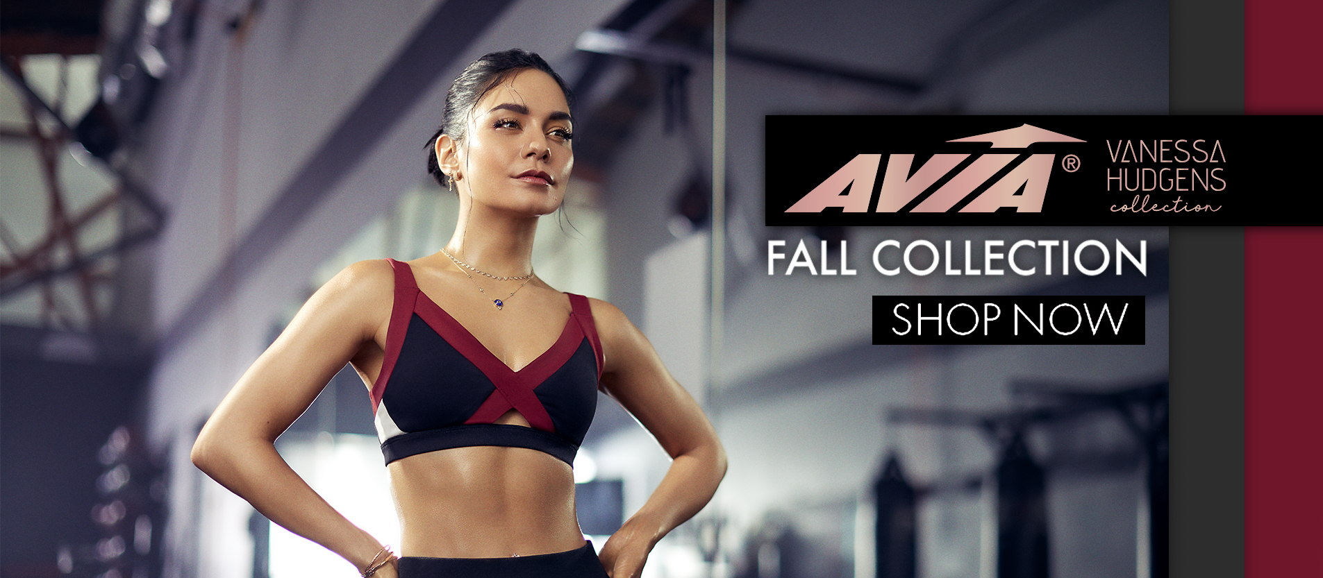 New Launch for Fall/Holiday, the Avia Vanessa Hudgens Apparel Collection, designed by Vanessa Hudgens for Avia. Tops, bottoms, Jackets, Leggings, Pants, Bras, Tanks, Shirts and more Avia Vanessa Hudgens clothing! Pair with the perfect pair of Avia running shoes to the perfect sneakers to walk in.