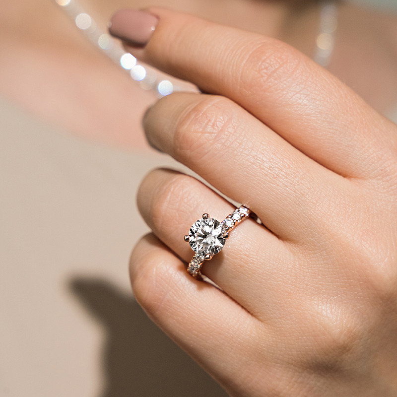 10 Stone Accented Engagement Ring
