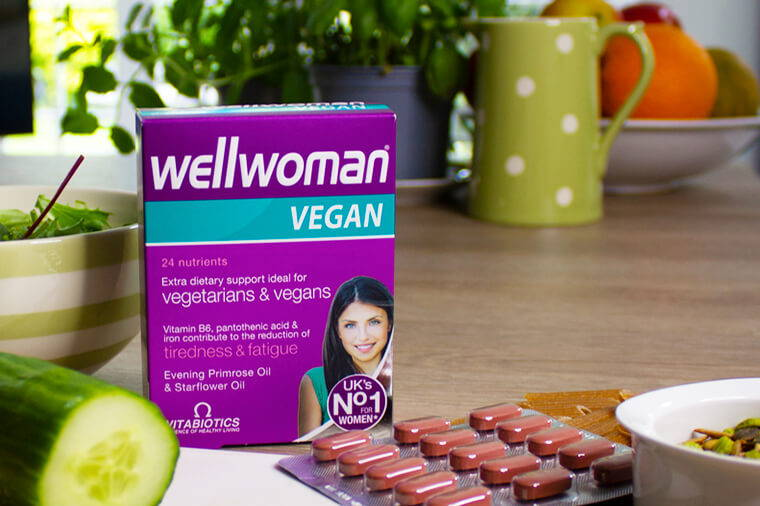 Wellwoman Vegan Product Sitting On Table