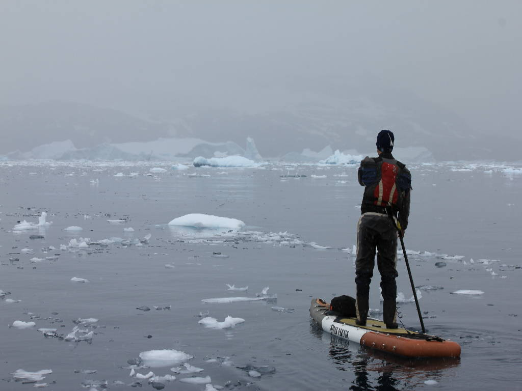 Inflatable stand up paddle board in Antartica