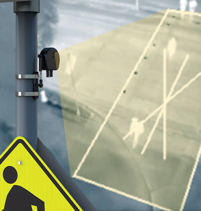 Thermal sensors detect pedestrians in crosswalk
