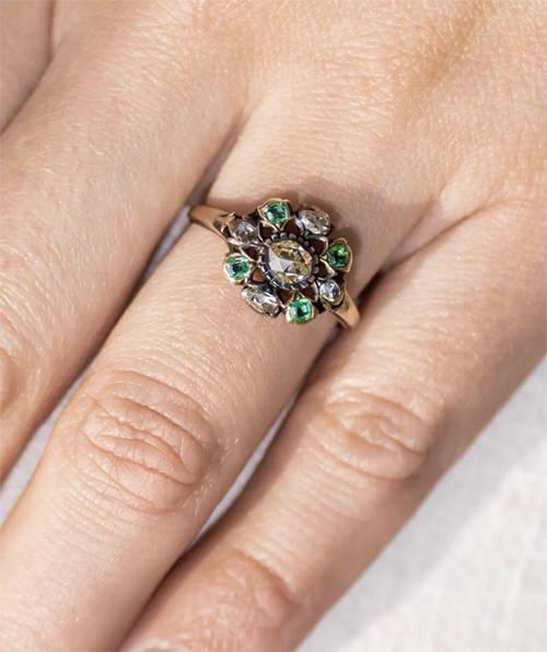 Antique Georgian, 18th Century, Emerald and Diamond Cluster Ring