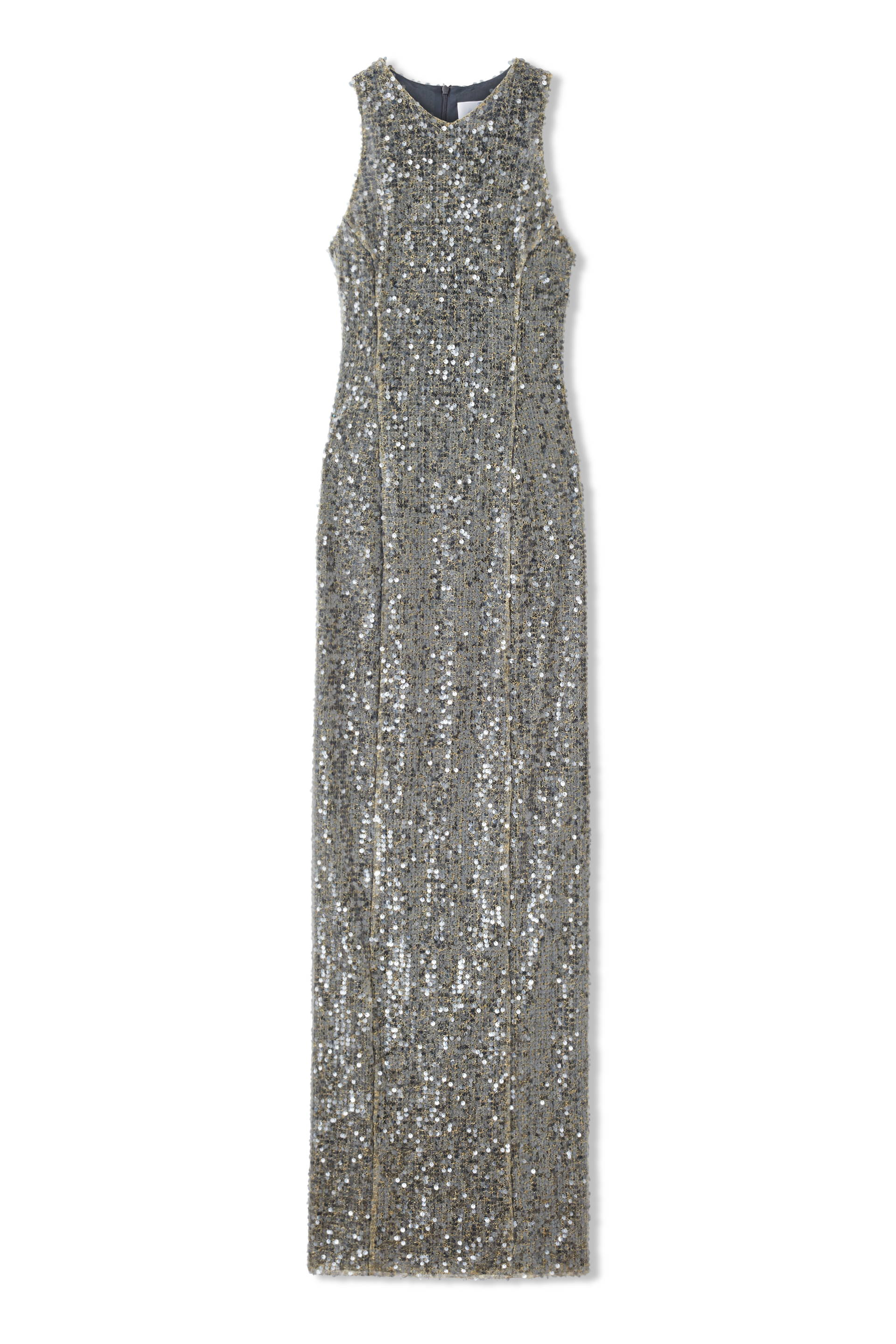 Galvan London Metallic Sequin Silver Column Dress