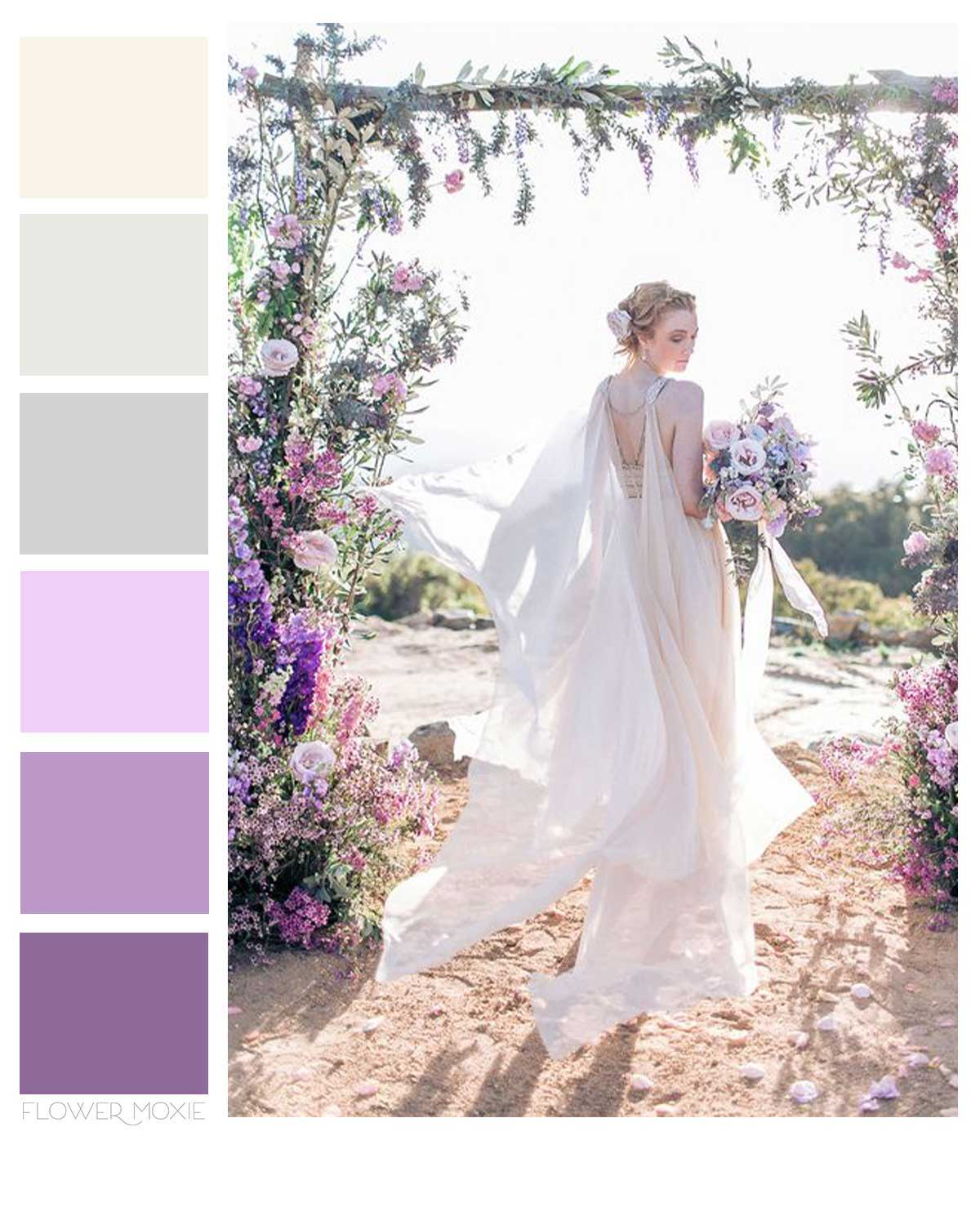 lavender cream and grey wedding flower packages
