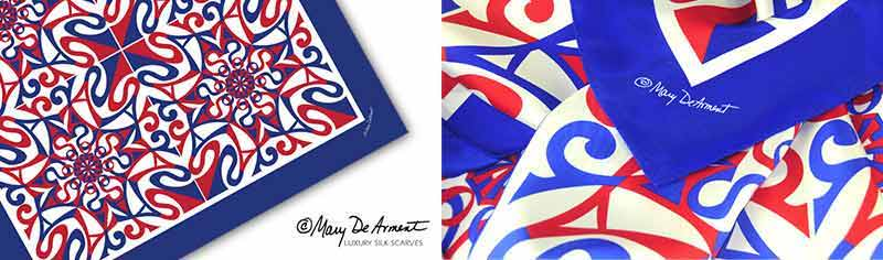 Designer custom printed scarve - Silk Twill - Square