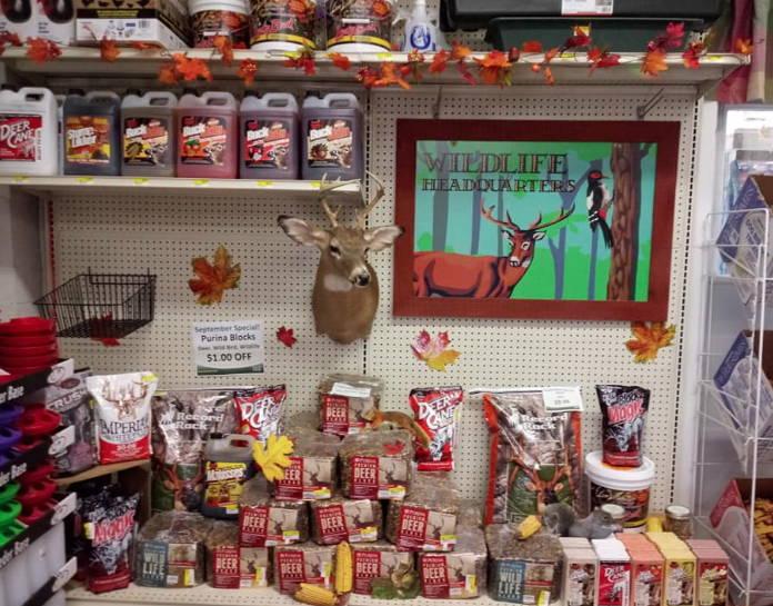 Deer supplies displayed on shelf.