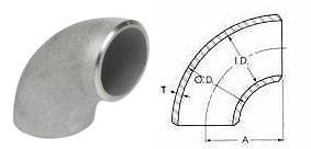 Stainless Steel Butt Weld Pipe Fittings - 90 Degree Long Radius Dimensions
