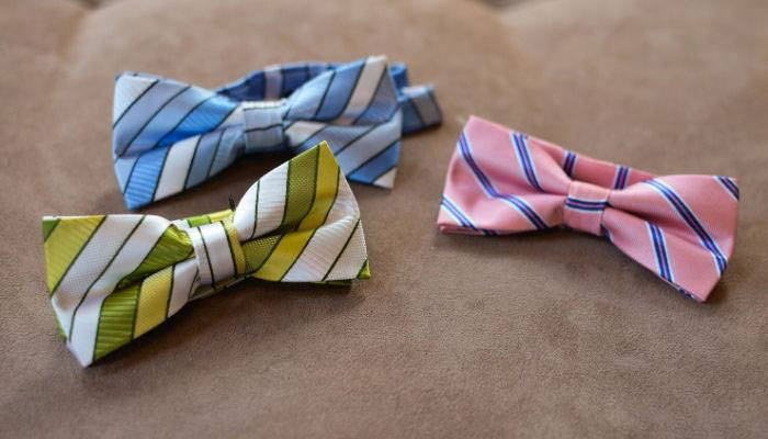 Three striped pre-tied band collar bow ties