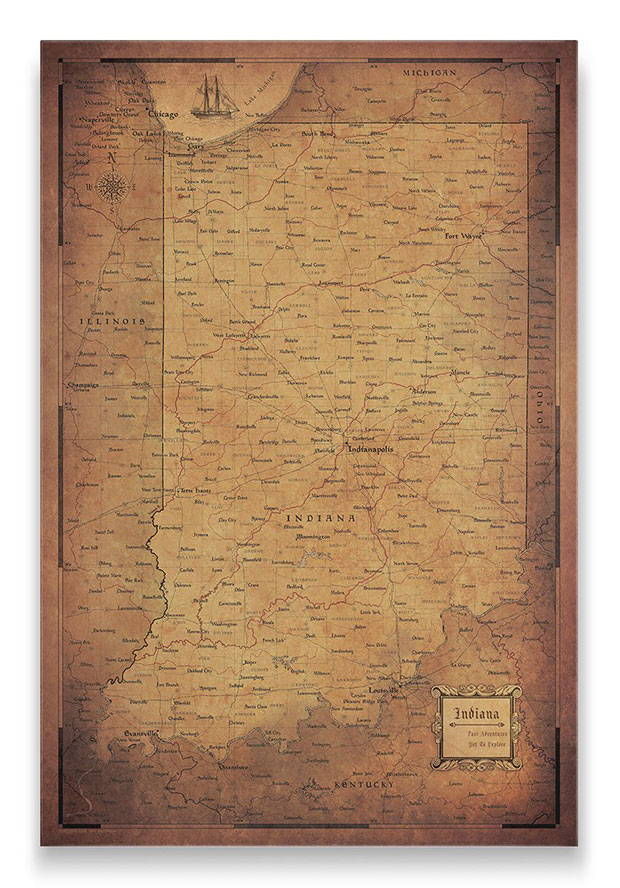 Indiana Push pin travel map golden aged