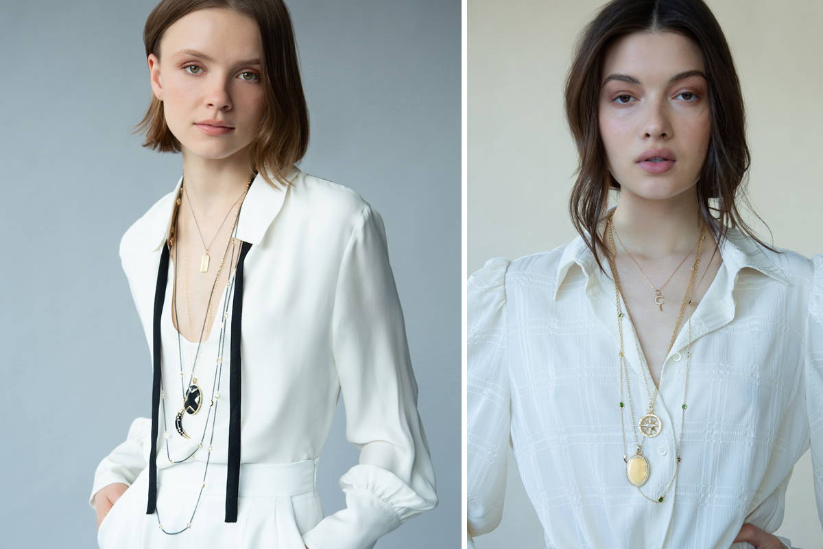 A modern locket styled with a white blouse