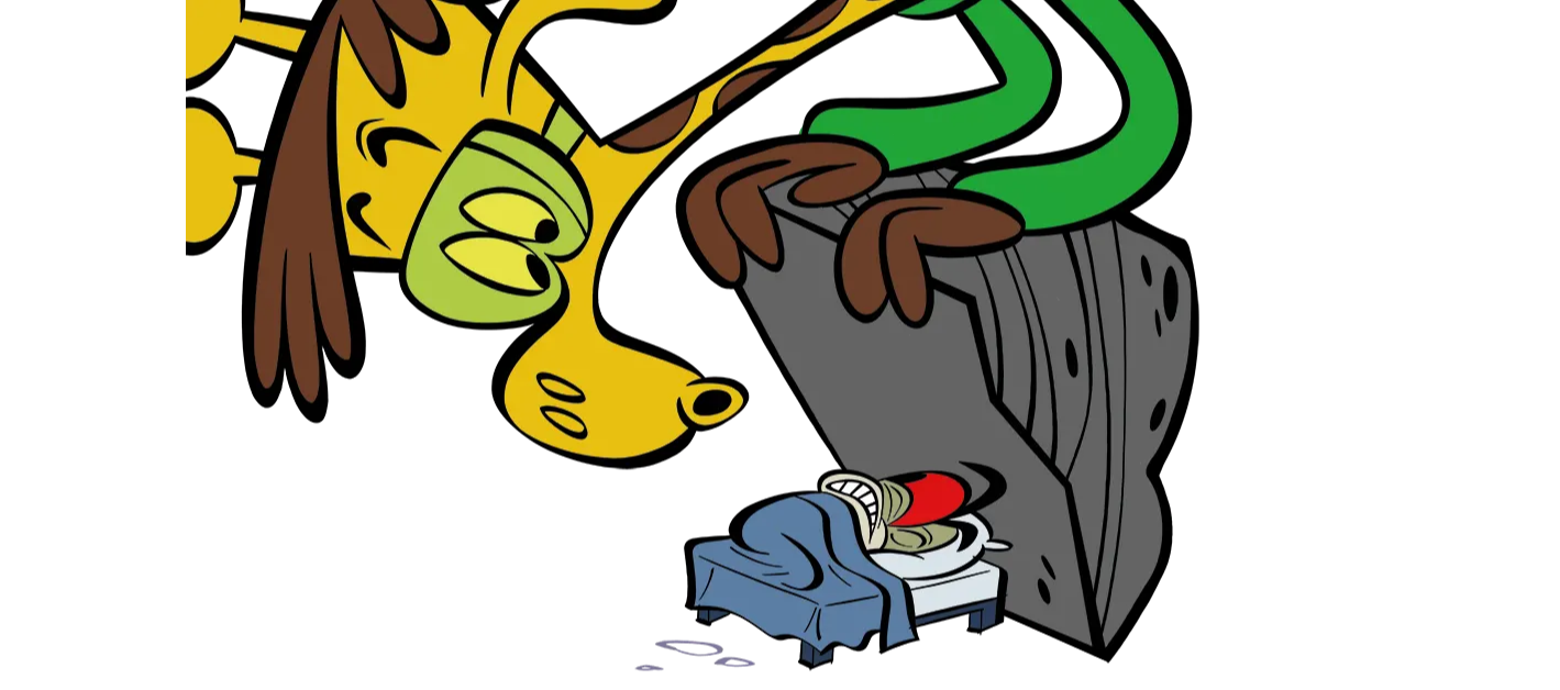 illustrated character sleeping under a rock