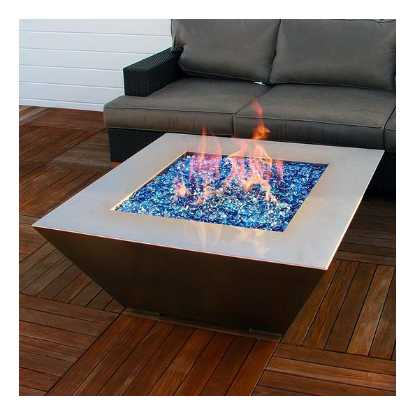 A stainless steel style fire pit on an upper patio