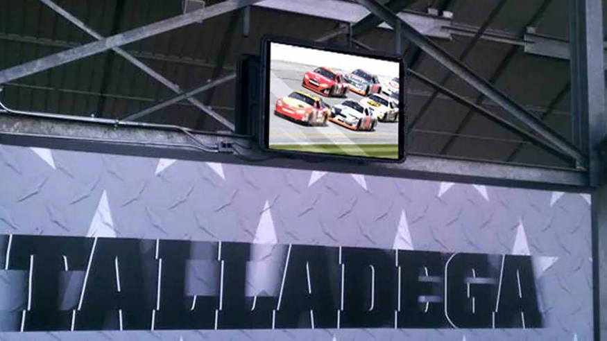 Outdoor TV enclosure for digital signage protection for businesses at Daytona International Speedway Talladega