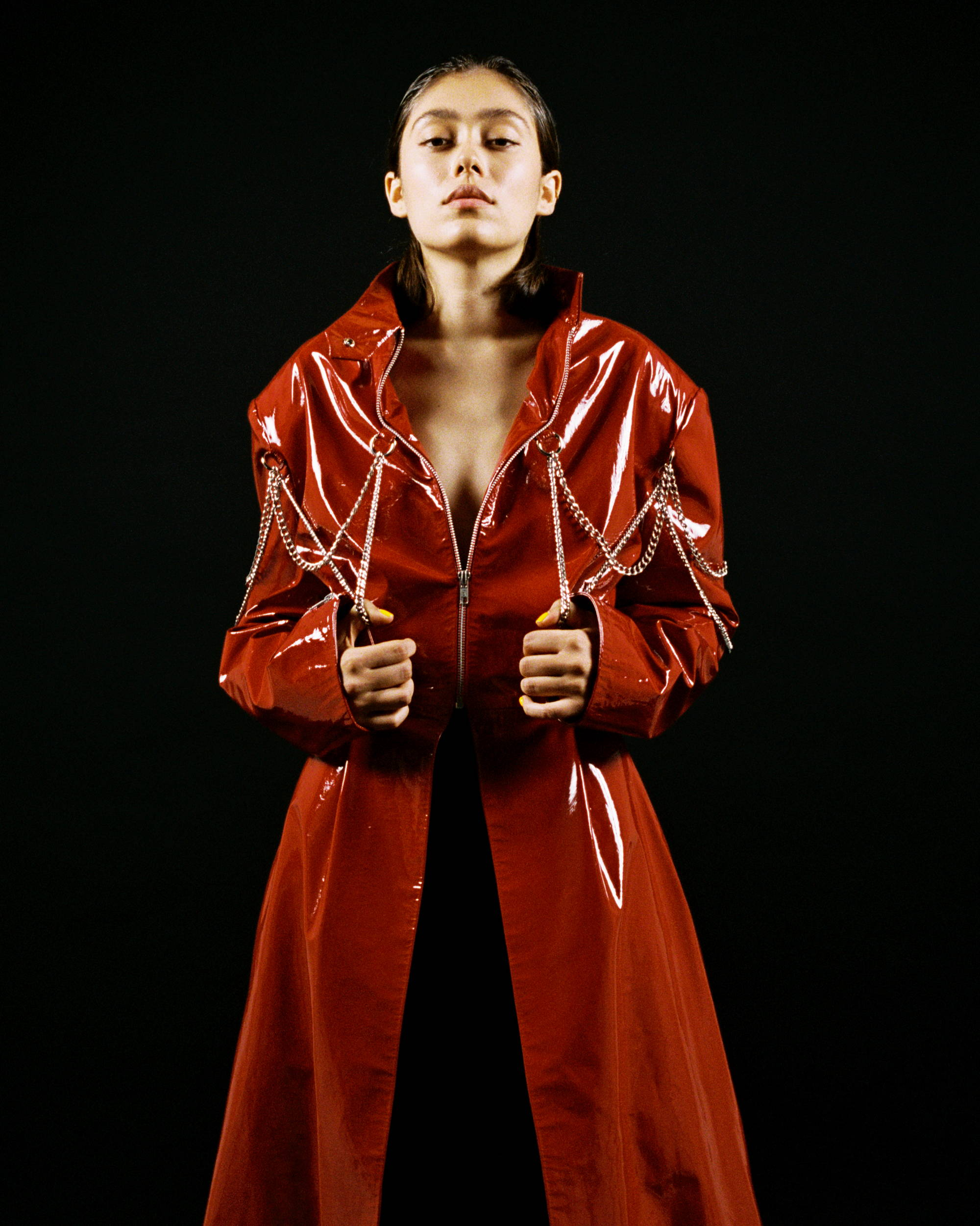 Dilara Findikoglu F/W18 Women PVC Leather Jacket - Hlorenzo