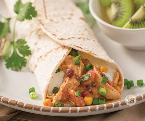 Slow-Cooked Salsa Chicken Wraps