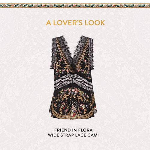 Shop Friend In Flora Wide Strap Lace Cami