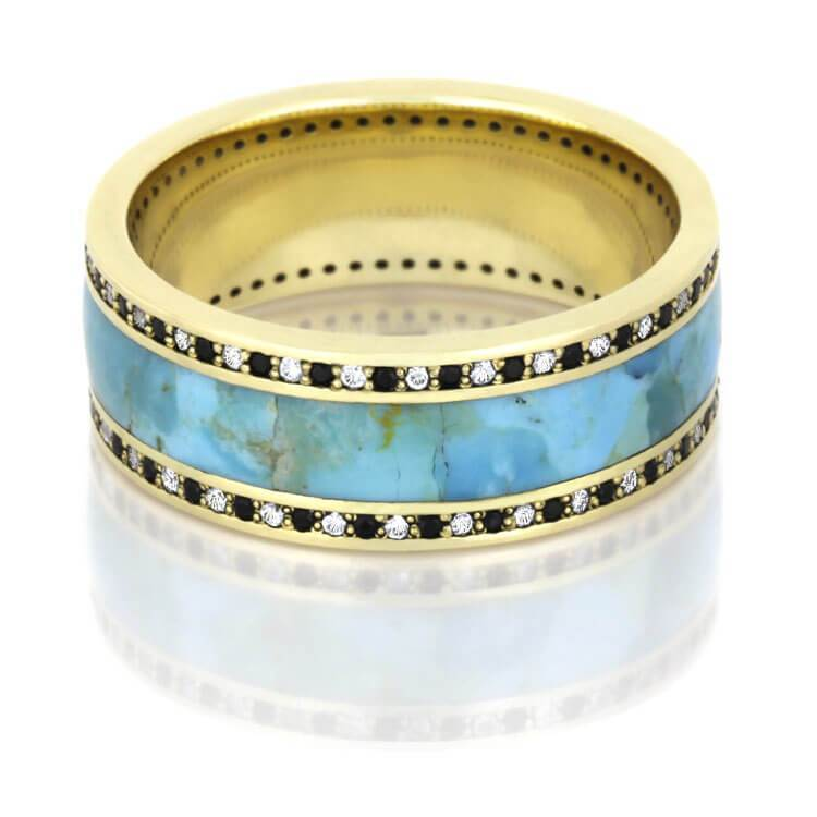 Turquoise Eternity Band in Yellow Gold
