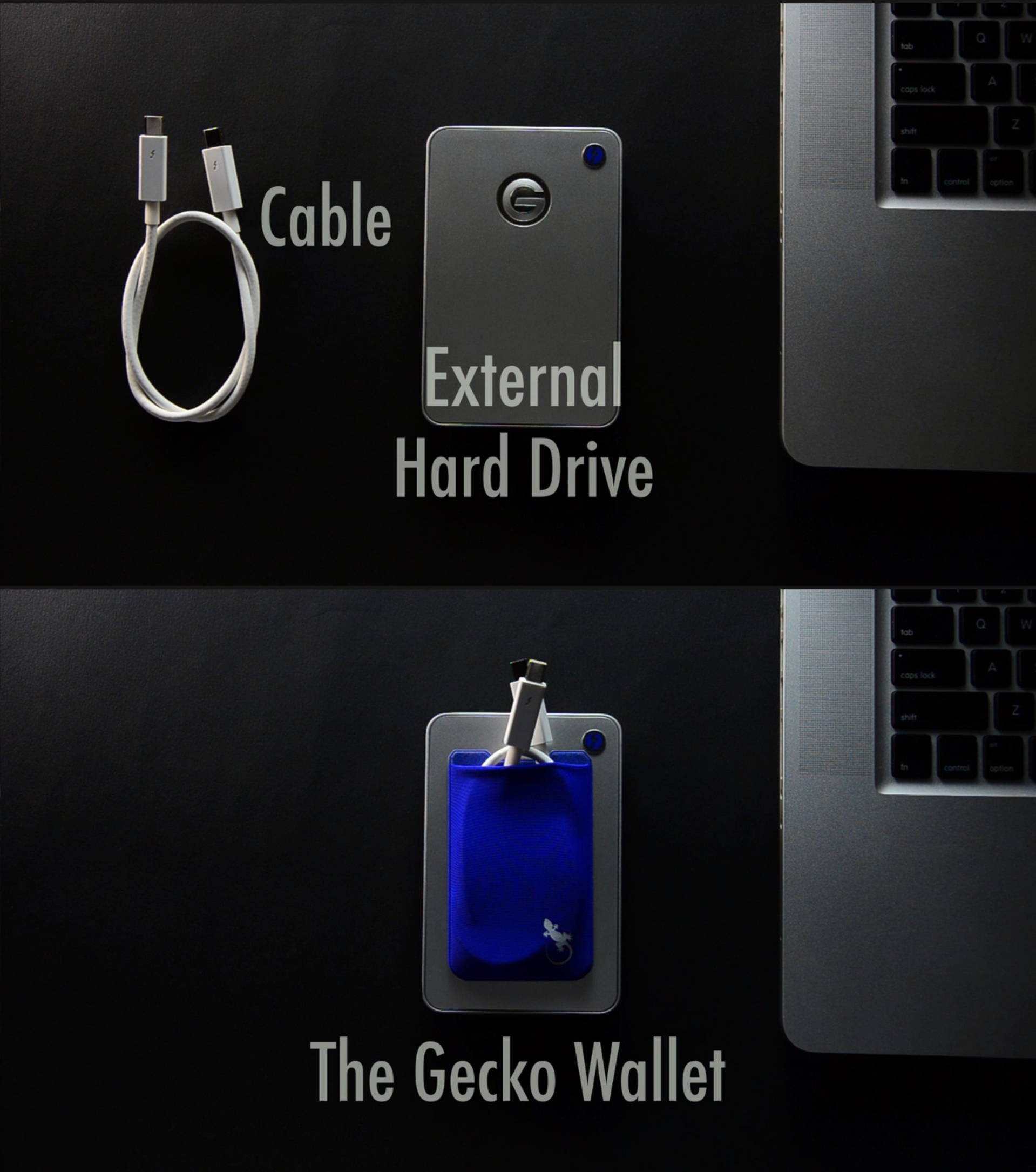 stretchable pocket for use on any device, hold your external hard drive wire.