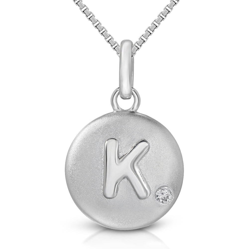 Pure at Birth letter K pendant with greek box necklace