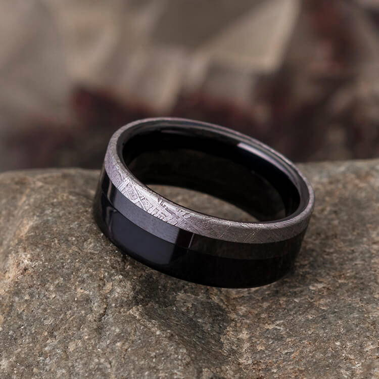 Meteorite Ring for Men, Ebony Wood and Black Ceramic Wedding Band