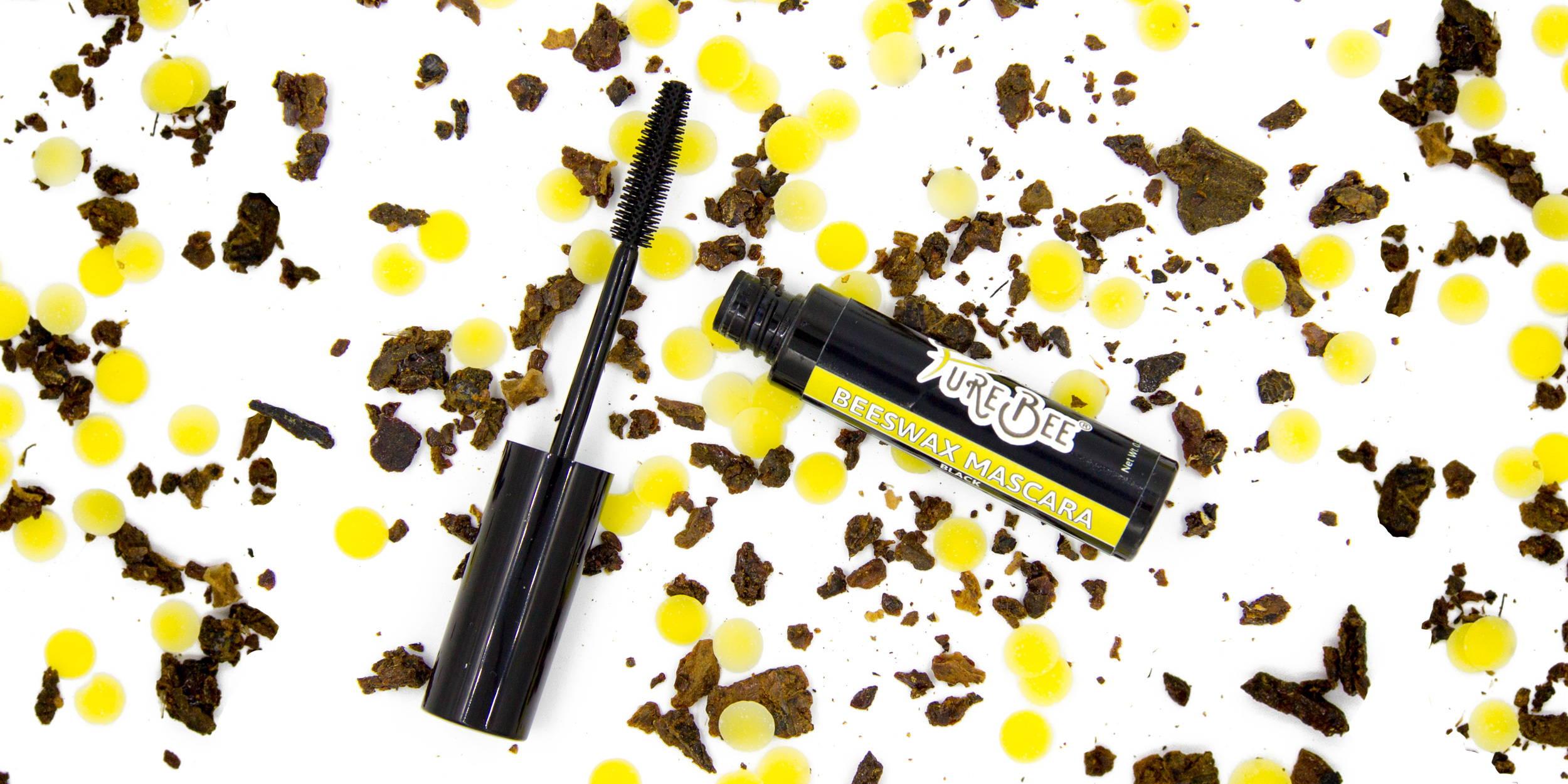 PureBee Beeswax Mascara open on beeswax and propolis