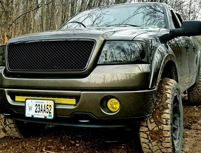 Ford F-150 with Yellow Lamin-x LED light bar film