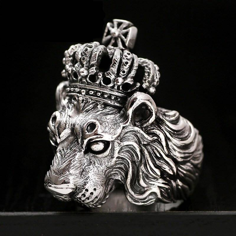 Lion Crown Sterling Silver Ring - That Ring Shop