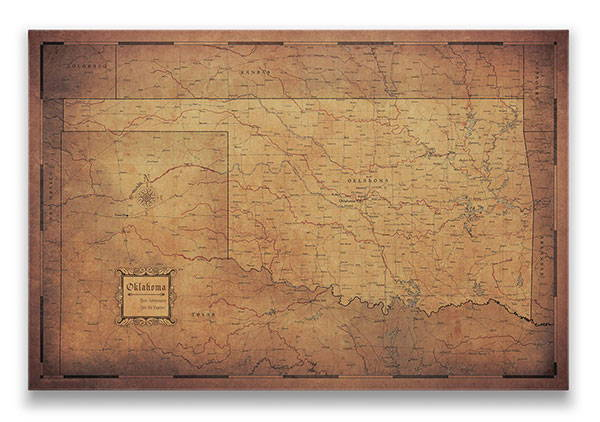 Oklahoma Push pin travel map golden aged
