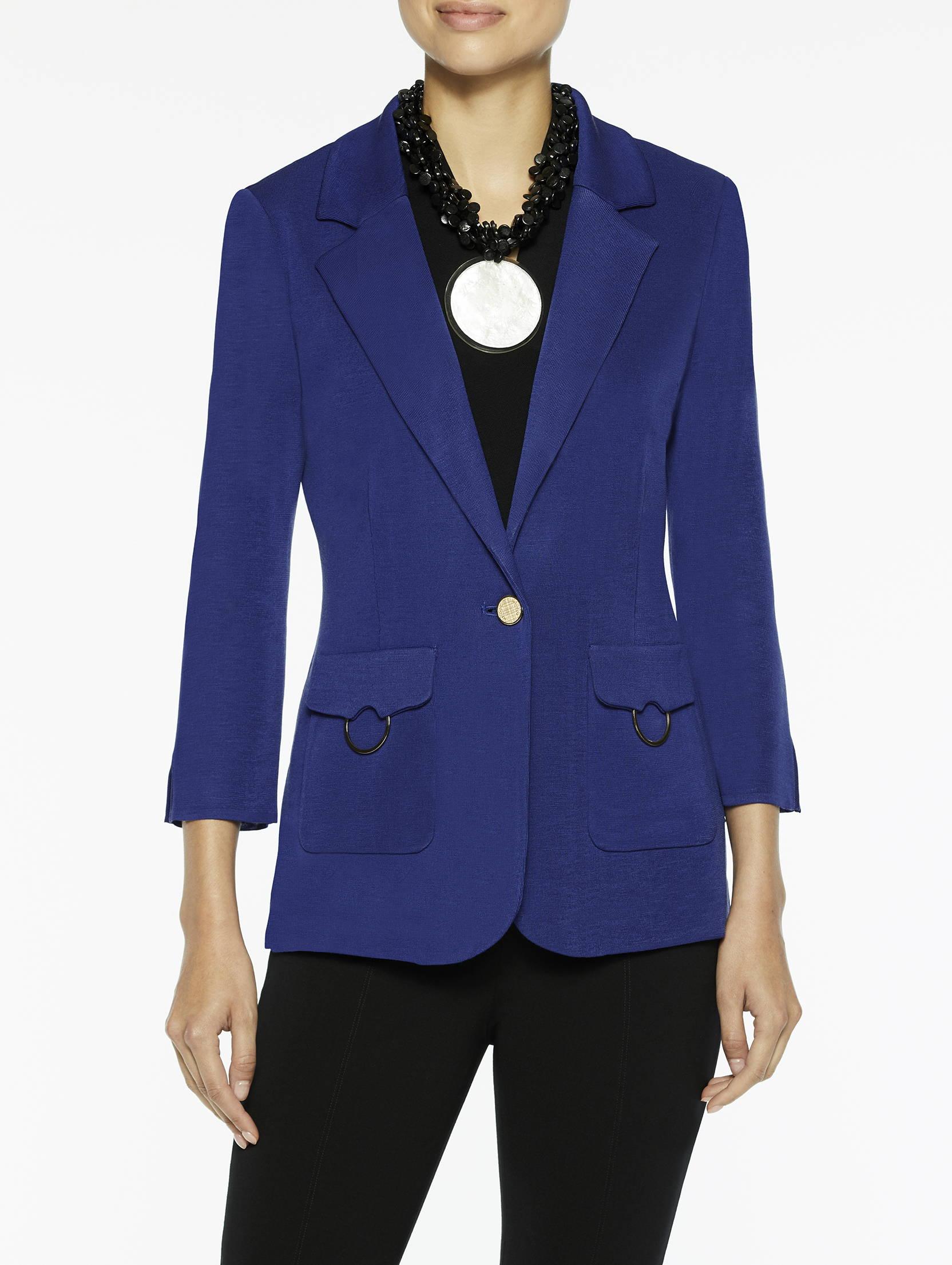 Patch Pocket Knit Jacket in Blue Flame