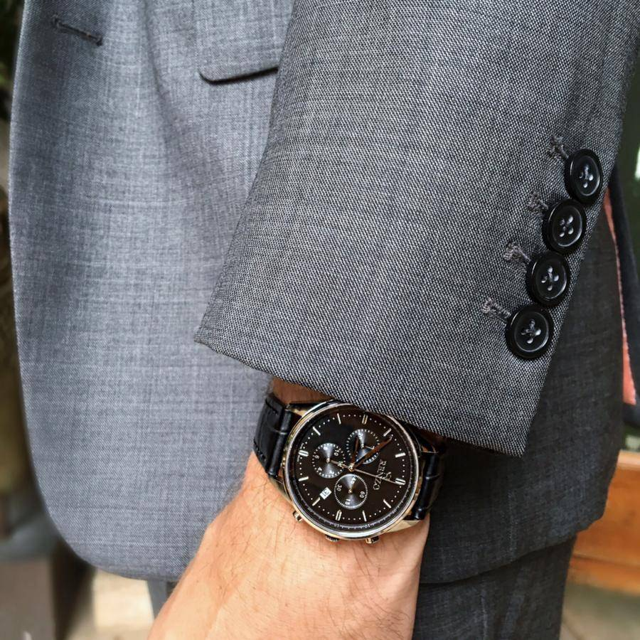 swiss watch on a suit