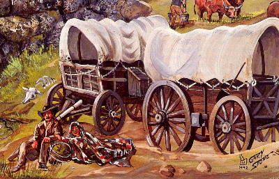 Wagon Train painting of the Oregon Trail by Gary Stone
