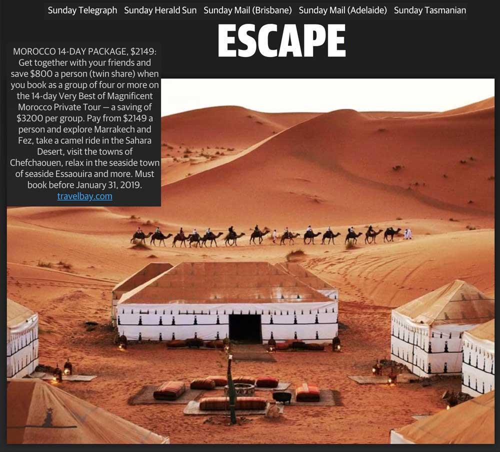 Travelbay in the Media - Escape - Morocco Tours - 14 Day