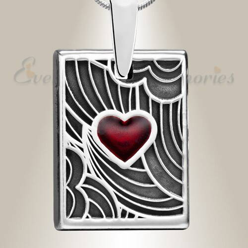Silver Crimson Heart Rectangular Ashes Into Jewelry