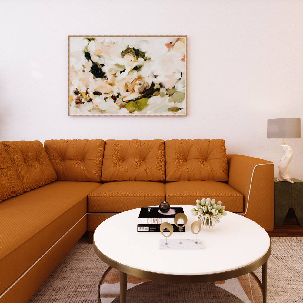 Large neutral wall art for mid century modern living room with brown couch via Parima Studio - abstract art.