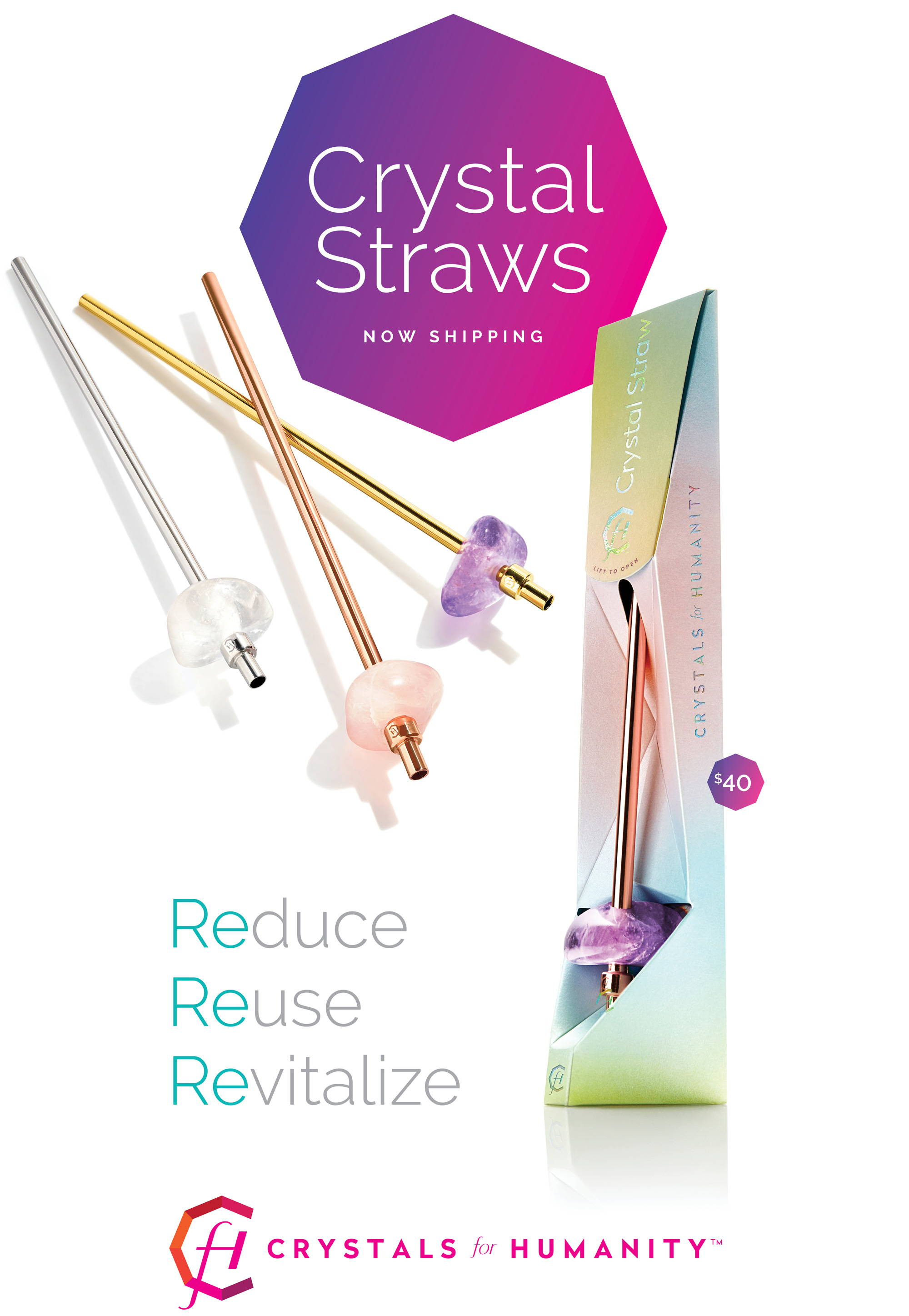 Crystals fo Humanity Reusable Crystal Straws