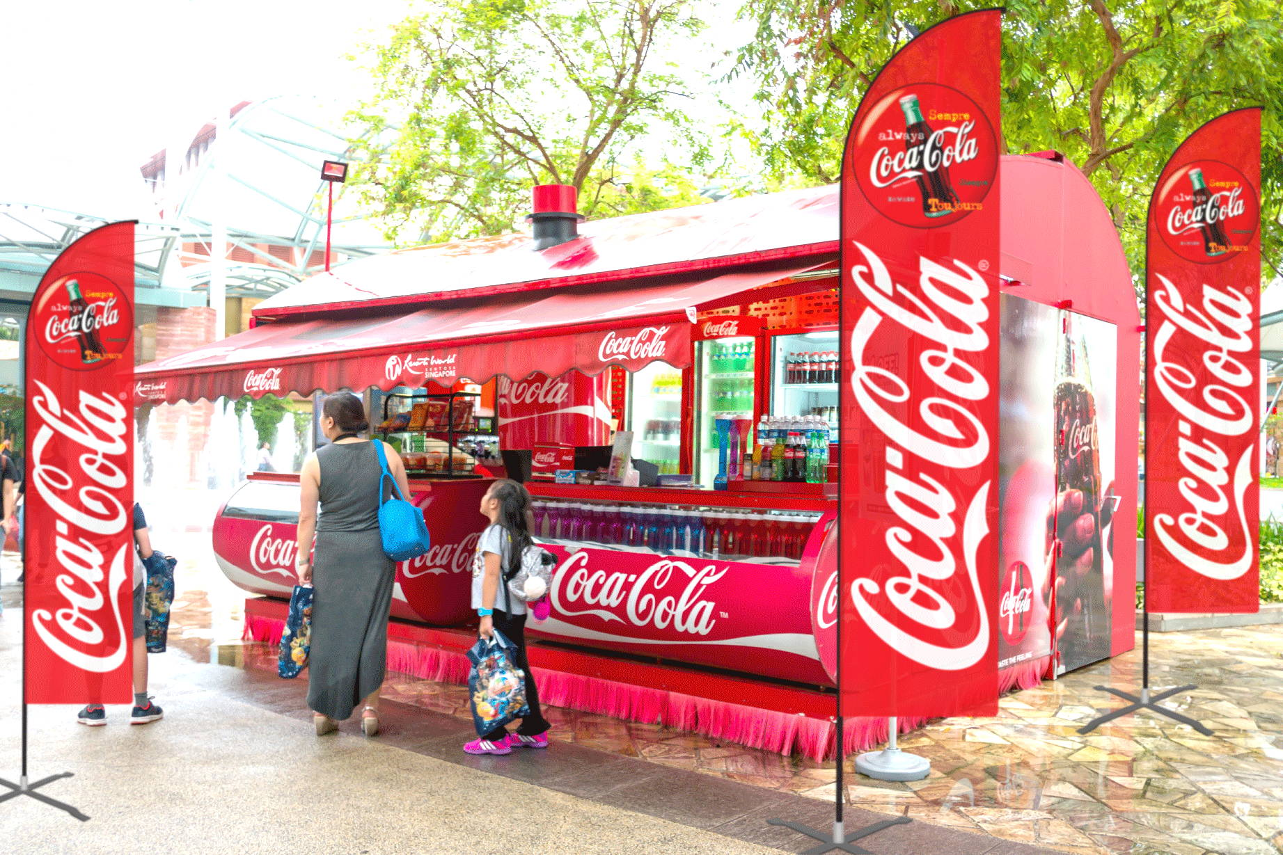 CocaCola Feather Flags with event truck