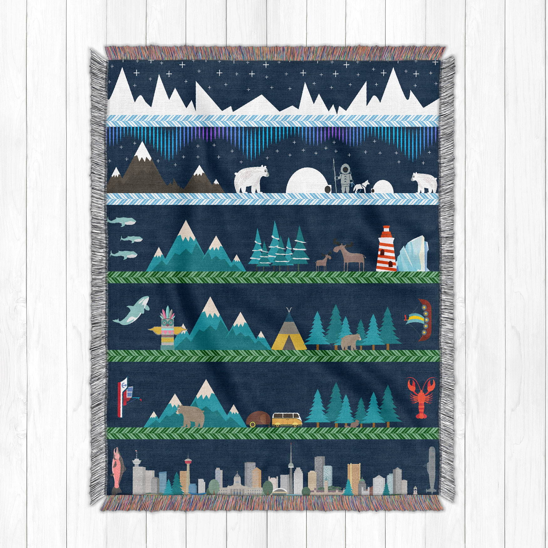 illustrated artwork of Canada from north to south as a cotton woven blanket