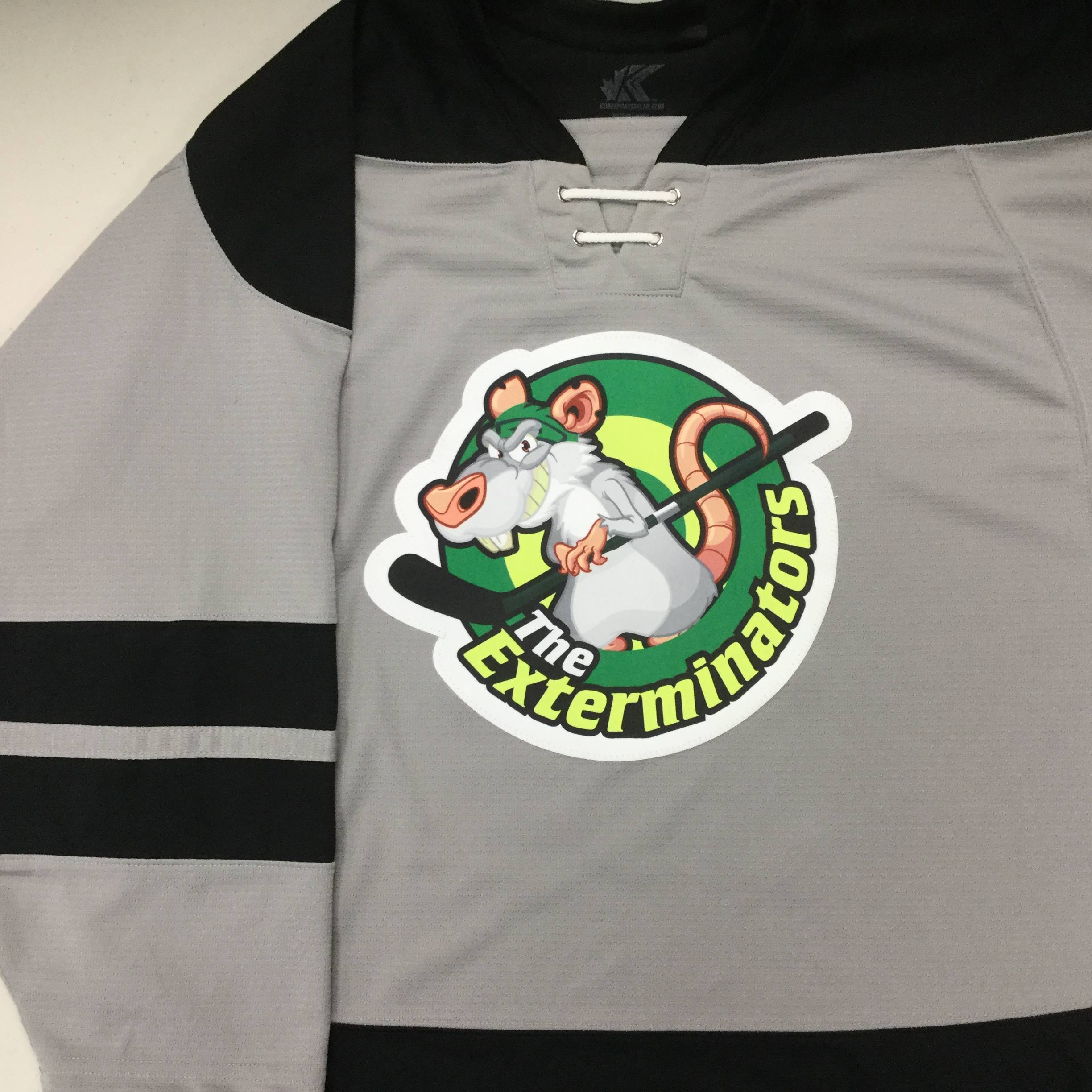 Custom Hockey Jersey With Sublimated Twill Crest on Kobe K3G16R Los Angeles Kings Grey: Exterminators