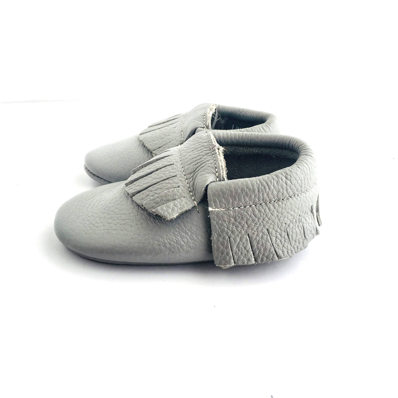 Cloud Grey colour soft sole shoes with fringe