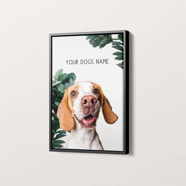 modern dog art on framed canvas