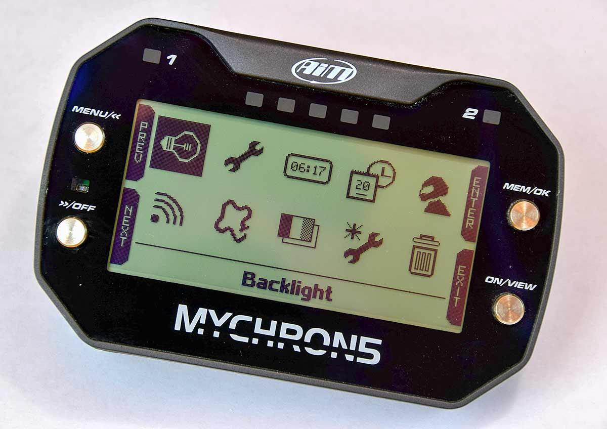 MyChron 5 Main Menu