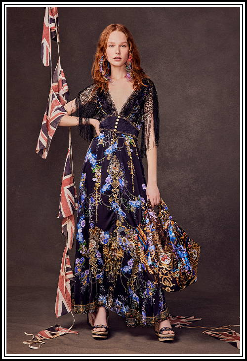 CAMILLA black and blue floral dress