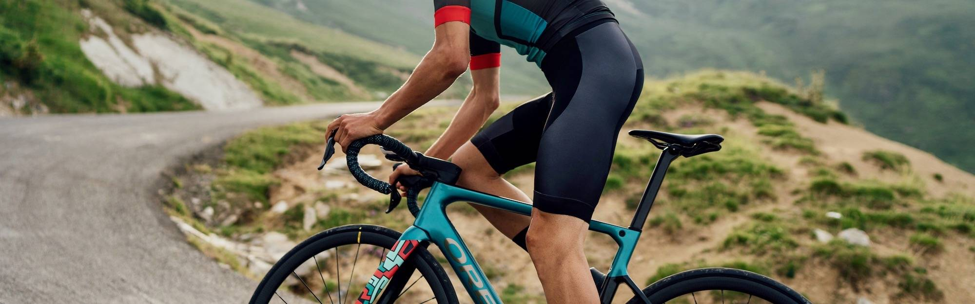 Riding the hills on Orbea road bikes.